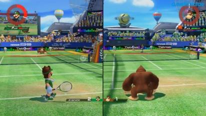 《瑪利歐網球 王牌高手》-分屏模式多人 Gameplay